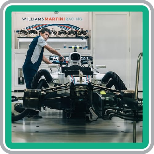 Website Maintenance Business high performance Williams race car being tuned up